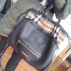 Lg Burberry 'Big crush house check' leather tote